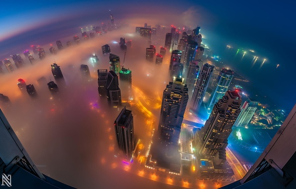 Картинка city, green, red, white, black, sky, yellow, blue, pink, orange, helicopter, dubai, purple, buildings, lighting, ...