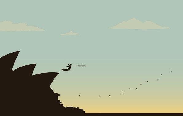 Картинка небо, свобода, полет, скала, прыжок, силуэт, freedom