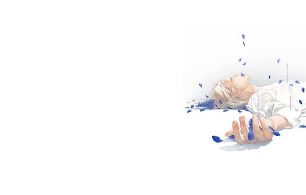 Картинка лепестки, слезы, лежит, парень, гвозди, art