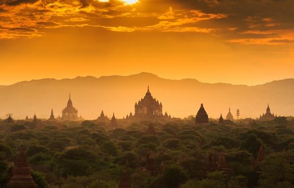 Картинка лес, закат, храм, forest, архитектура, sunset, дворец, old, старый город, architecture, palace, Мьянма, Бирма, temple, …