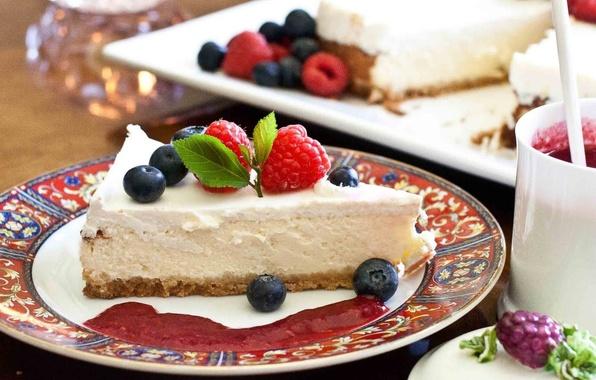 Картинка малина, еда, черника, торт, пирожное, фрукты, cake, крем, десерт, food, сладкое, fruits, cream, dessert, raspberry, ...