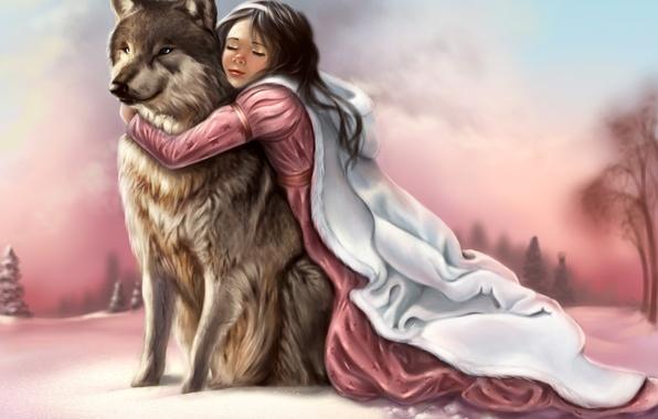 Картинка зима, небо, взгляд, морда, девушка, снег, следы, лицо, животное, волк, хищник, лапы, руки, арт, живопись, …