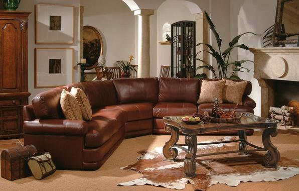 Картинка уют, дом, фон, отдых, обои, интерьер, кабинет, кожанный диван