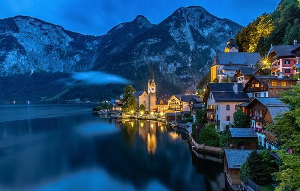 Картинка горы, огни, озеро, вечер, Австрия, Альпы, Зальцкаммергут, Гальштат
