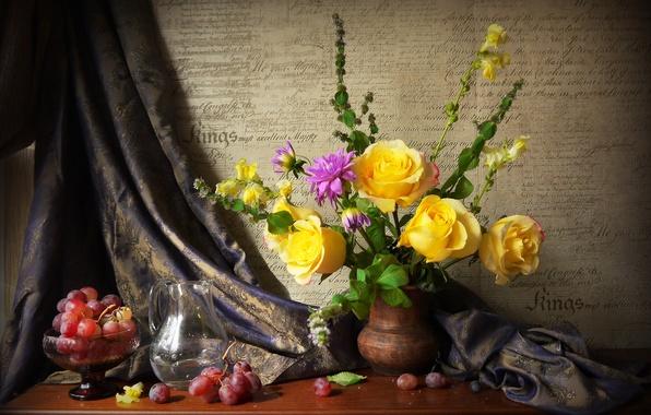 Картинка фото, Цветы, Ваза, Розы, Виноград, Натюрморт, Кувшин