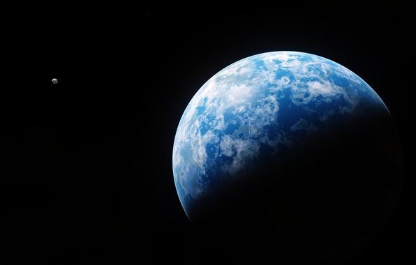 Картинка космос, поверхность, планета, спутник