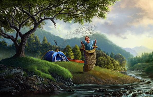 Картинка лес, деревья, река, арт, палатка, парень, спальный мешок, улей, пчёлы