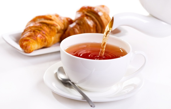 Картинка чай, завтрак, cup, croissant, breakfast, круассан, tea