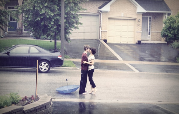 Картинка дорога, машина, девушка, дождь, романтика, страсть, нежность, чувства, поцелуй, объятия, girl, love, непогода, парень, road, …