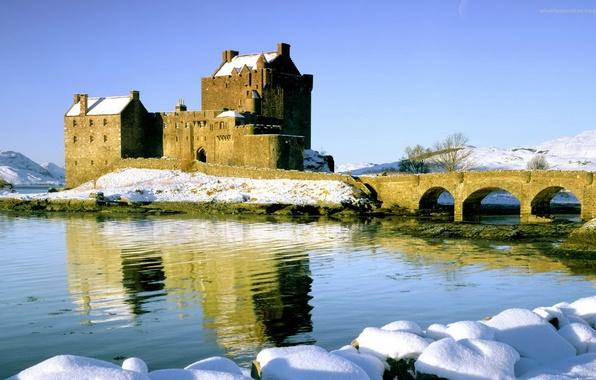 Картинка зима, небо, снег, мост, река, замок