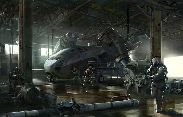 Картинка самолет, оружие, транспорт, корабль, арт, ангар, солдаты