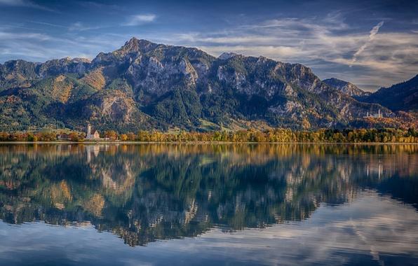 Картинка горы, отражение, Германия, Бавария, Альпы, Germany, Bavaria, Alps, Neuschwanstein Castle, Замок Нойшванштайн, озеро Форггензе, Lake …