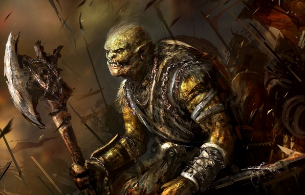 Картинка Fantasy, Art, Orc, Battlefield, Background, Weapon, Artwork, Warriors, Orcs, Axe