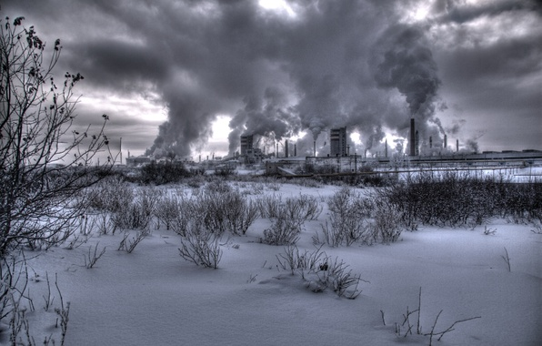 Картинка зима, завод, дым, smoke, winter, factory, nuclear, атомная станция