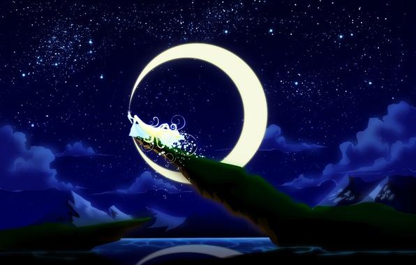 Картинка небо, девушка, облака, ночь, скала, платье, арт, живопись, длинные волосы, большая луна