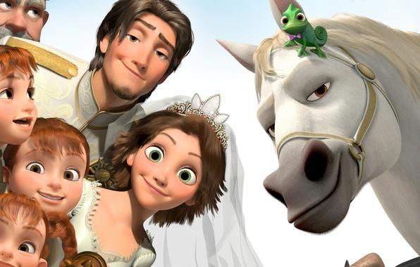 Картинка счастье, дети, хамелеон, конь, девочки, мультфильм, Рапунцель, невеста, принцесса, свадьба, crown, разбойник, Запутанная история, Паскаль, …