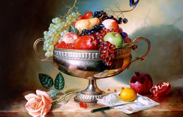 Картинка малина, лимон, бабочка, яблоки, роза, клубника, виноград, нож, ваза, груша, натюрморт, живопись, Алексей Антонов, painting, …