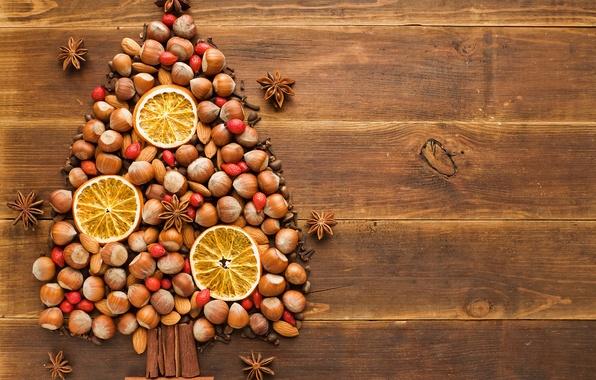 Картинка зима, стол, дерево, праздник, елка, апельсин, Новый Год, шиповник, Рождество, ёлка, орехи, корица, Christmas, гвоздика, …