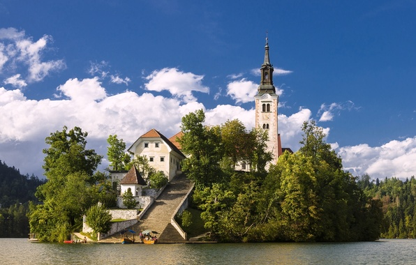 Картинка озеро, остров, церковь, Словения, Lake Bled, Slovenia, Бледское озеро, Блед, Assumption of Mary Pilgrimage Church, …