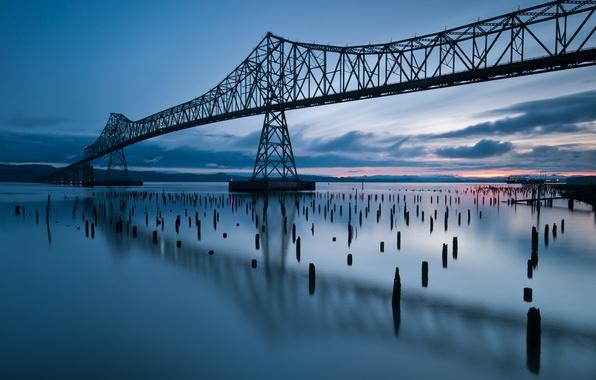 Картинка облака, закат, мост, отражение, река, вечер, Орегон, USA, США, river, Oregon, bridge, sunset, clouds, evening, …