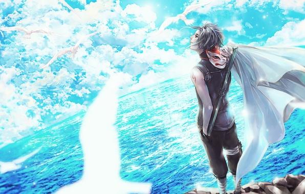 Картинка небо, облака, птицы, улыбка, океан, аниме, маска, арт, наруто, парень, naruto, Kakashi Hatake, scarlet97