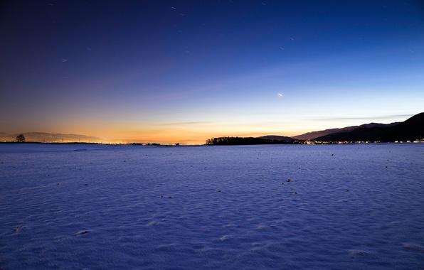 Картинка зима, небо, солнце, звезды, снег, пейзаж, закат, природа, sky, landscape, nature, sunset, winter, snow, stars, …