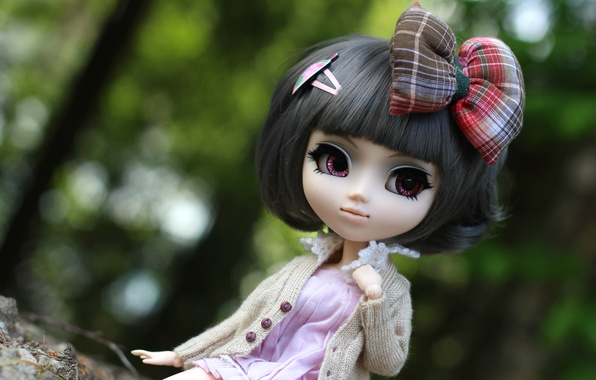 Фото обои кукла, прическа, красавица, бант
