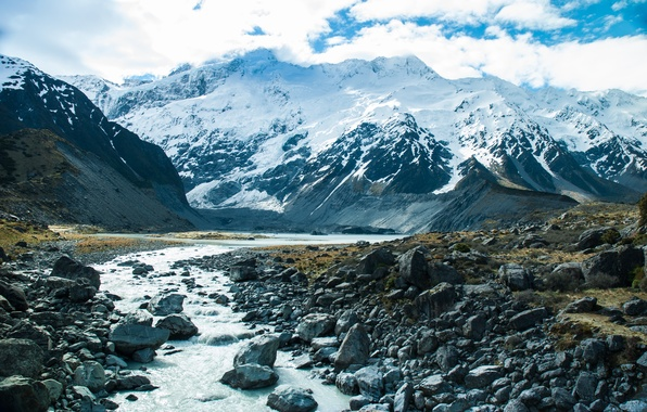 Картинка снег, горы, природа, река, поток, river, nature, mountains, snow, stream
