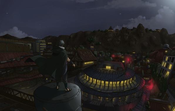 Картинка naruto, anime, night, art, sasuke, shinobi, konohagakure no sate