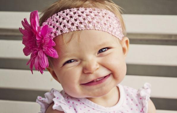 Картинка цветок, улыбка, настроение, девочка, повязка, малышка, ребёнок