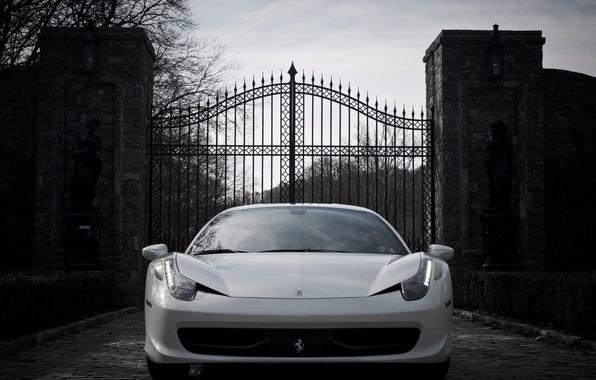 Картинка авто, обои, ворота, white, ferrari, феррари, 458, italia, италия
