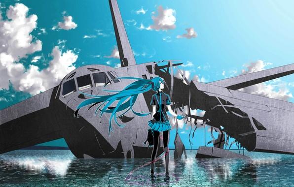 Картинка небо, вода, облака, самолет, vocaloid, hatsune miku, вокалоид, headphones