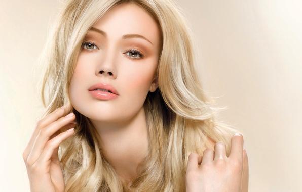 Обои девушка, портрет, макияж, блондинка, длинные волосы ...