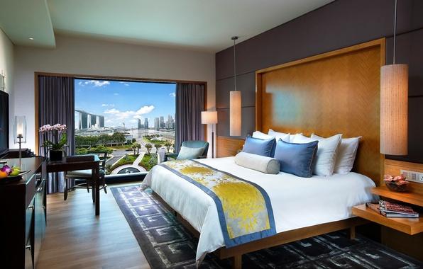 Картинка цветы, дизайн, город, стиль, стол, лампы, комната, вид, кровать, интерьер, кресло, подушки, окно, стул, Сингапур, …
