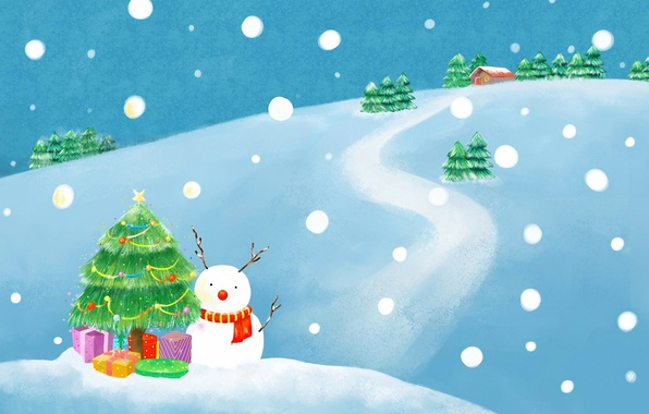 Картинка зима, дорога, снег, дом, праздник, рисунок, елка, новый год, ель, шарф, подарки, снеговик, елочные украшения