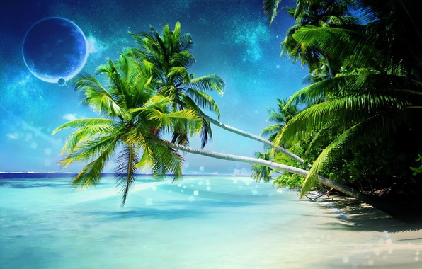Картинка море, пальмы, планета, Берег, Dreamy World