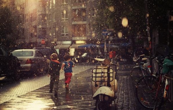 Картинка лето, асфальт, капли, дети, дождь, настроение, обои, улица, дороги, ливень, wallpapers, тротуары