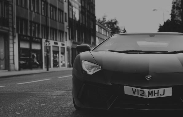 Картинка Lamborghini, Front, Black, Street, LP700-4, Aventador, Supercar