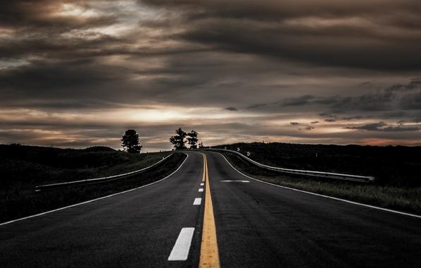 Фото обои пейзаж, вечер, дорога