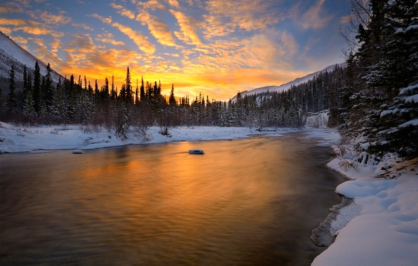 Картинка зима, небо, облака, снег, пейзаж, закат, природа, река, white, белые, river, sky, landscape, nature, sunset, …