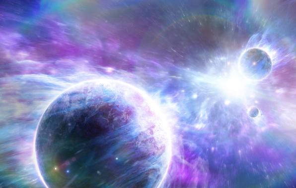 Картинка энергия, космос, взрыв, планеты, арт, сверхновая, Alienphysique, Katherl Hannes