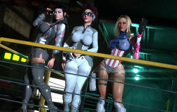 Картинка грудь, девушка, оружие, фантастика, очки, костюм, space bandits