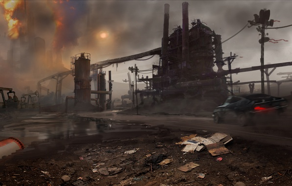 Картинка Закат, Дым, Огонь, Машина, Кран, Арт, Mad Max, Warner Bros. Interactive Entertainment, Трубы, Avalanche Studios, …