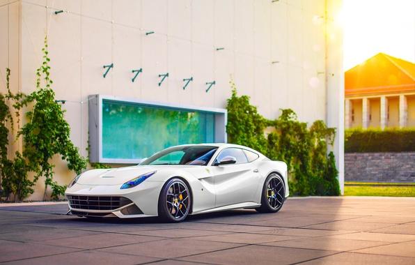 Картинка Ferrari, Car, Power, Front, Sun, White, Sport, Supercar, Berlinetta, F12, Wheels, Ligth