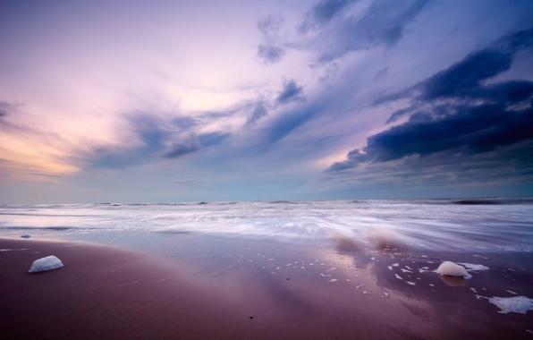 Картинка песок, море, небо, вода, камни, океан, берег, пейзажи, пляжи