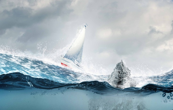 Картинка море, волны, брызги, парусник