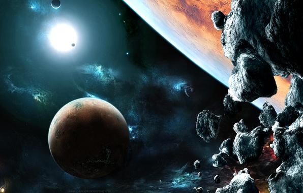 Картинка lights, rocks, planets, stones, galaxies, asteroids, Sci fi