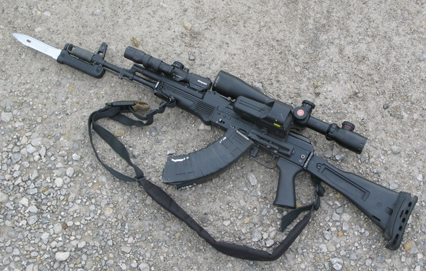 Картинка оружие, оптика, ружьё, карабин, Сайга, штык-нож, самозарядное