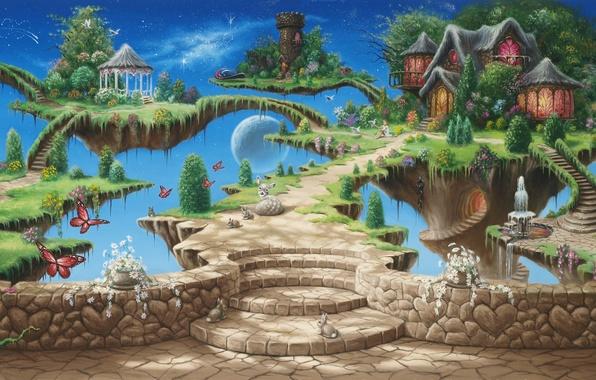 Картинка небо, девушка, деревья, бабочки, цветы, птицы, замок, башня, сказка, звёзды, фэнтези, арт, фонтан, домик, girl, …