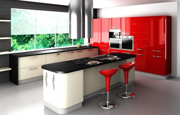 Картинка красный, стиль, стол, стулья, окно, кухня, гарнитур